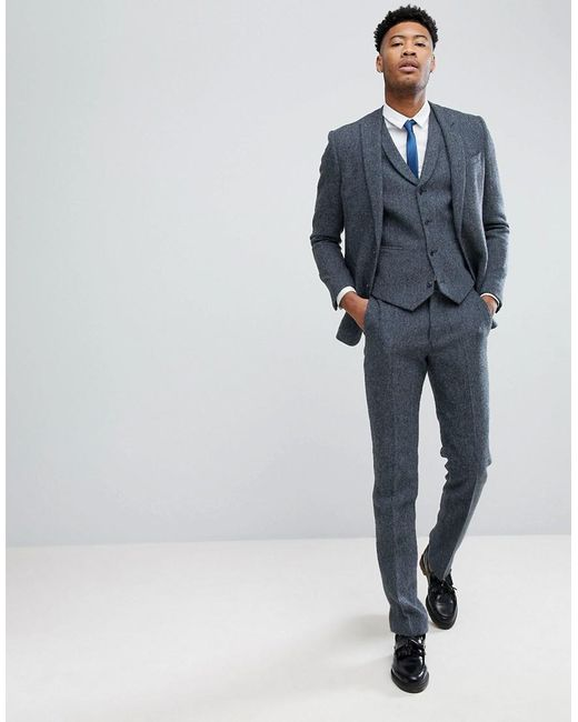 TALL Slim Suit Trousers in 100% Wool Harris Tweed In Blue Mini Check - Blue Asos Ihp7NVILH