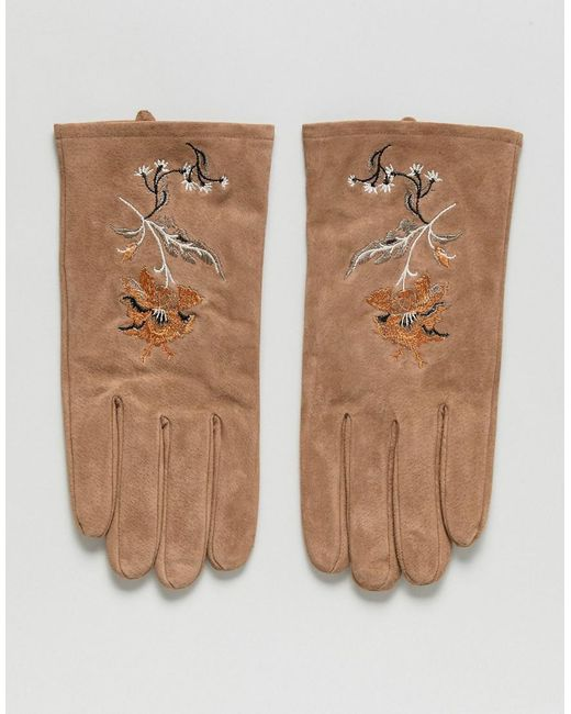 ASOS - Multicolor Gants en daim avec broderie for Men - Lyst