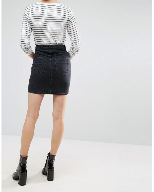 50371d130 ASOS Denim Original High Waisted Skirt In Washed Black in Black - Lyst