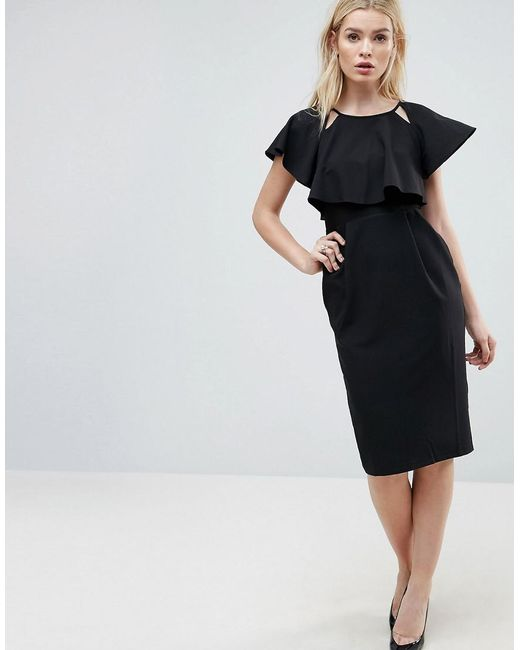 ASOS - Black Double Layer Midi Wiggle Dress With Angel Sleeve - Lyst