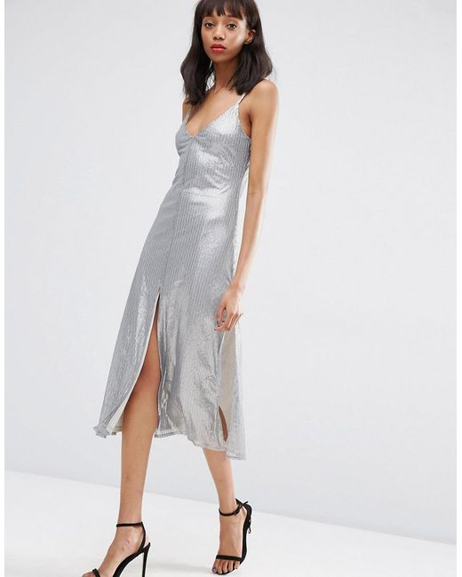 ASOS - Gray Asos Night Embellished Metal Sequin Cami Midi Dress - Lyst