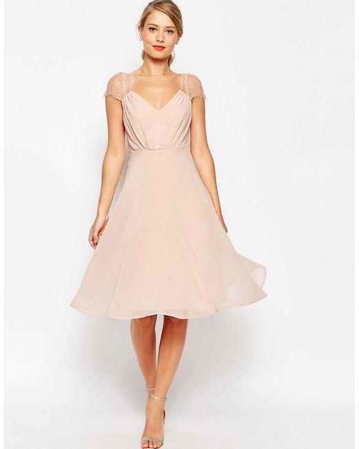 ASOS | Pink Kate Lace Midi Dress | Lyst