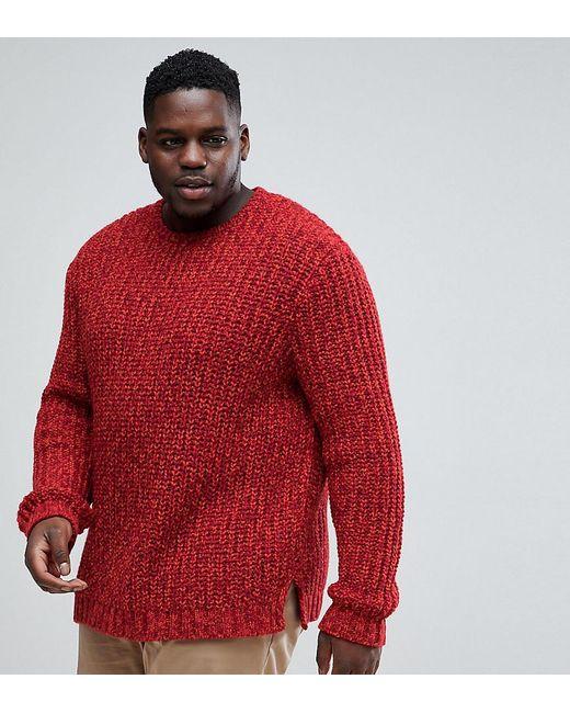 ASOS DESIGN - Red Asos Plus Heavyweight Fisherman Rib Sweater In Burgundy for Men - Lyst