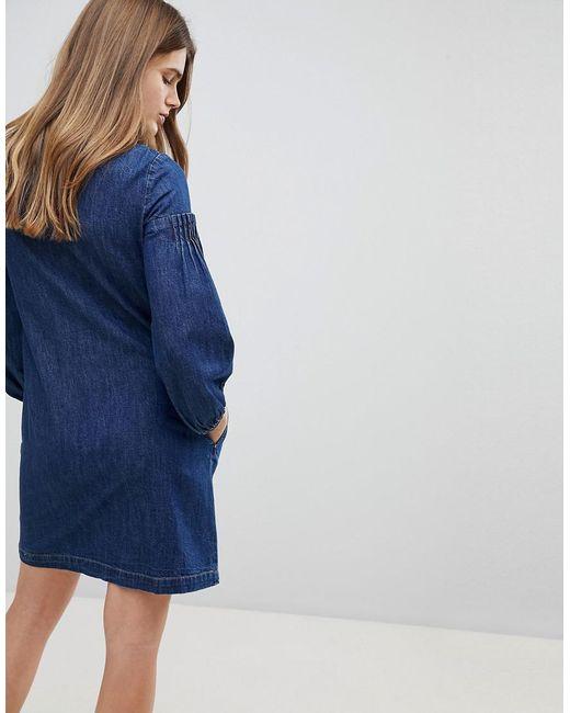 Cheap Best Balloon Sleeve Denim Dress - Blue Esprit Buy Online Outlet Wide Range Of Sale Online RBUgkrvUT