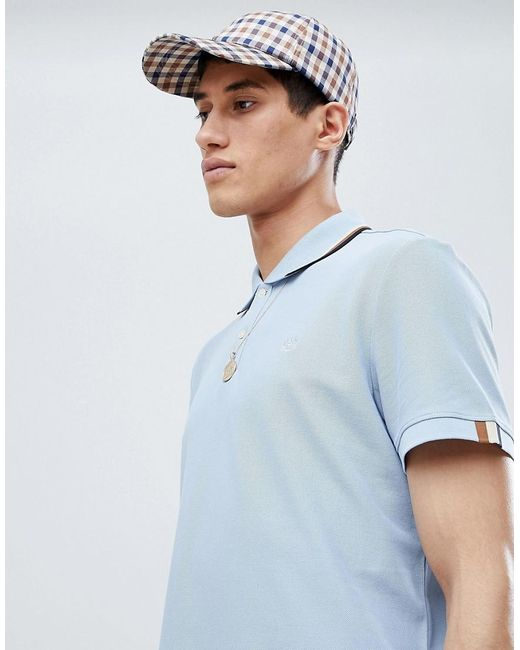 Bosley Tipped Collar Polo In Sky Blue - Sky blue Aquascutum Factory Outlet For Sale Sale Buy 9uVI5v4cgr