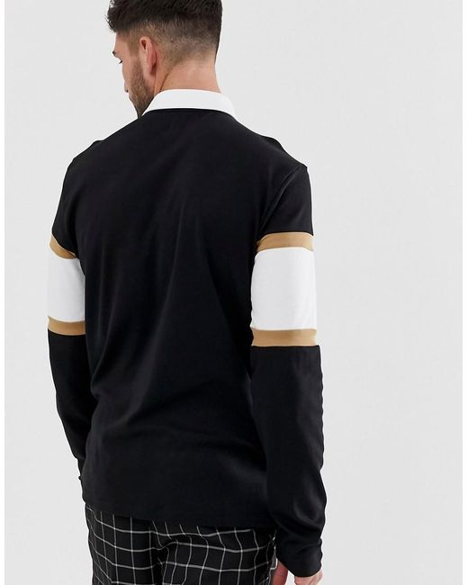 48386733 ... River Island - Rugby Polo With 96 Embroidery In Black for Men - Lyst