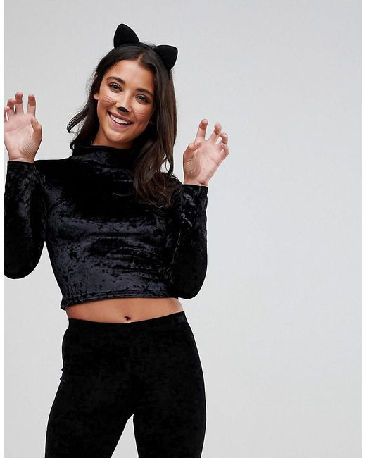 Club L - Black Halloween Crushed Velvet Crop Top With Cat Ears - Lyst
