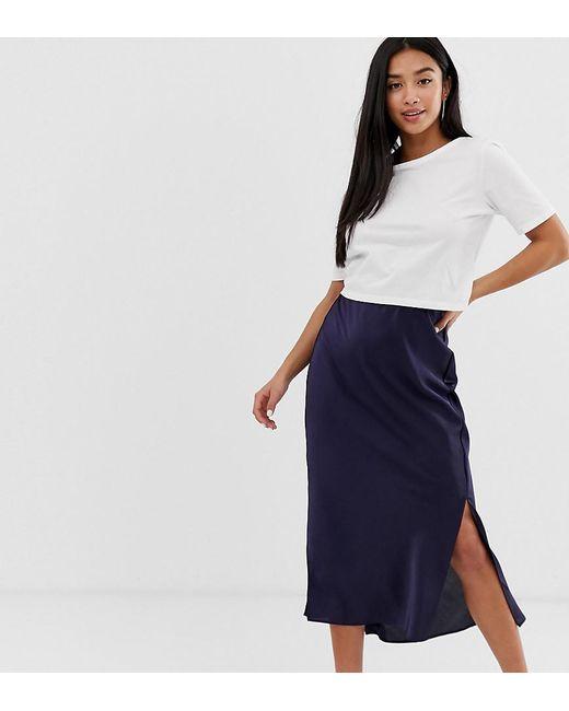 d51d89ca60 ASOS - Blue Asos Design Petite Bias Cut Satin Midi Skirt With Splits - Lyst  ...