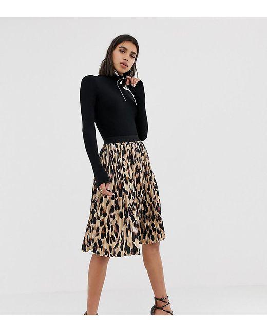 5978f5dbd0 PRETTYLITTLETHING - Black Pleated Midi Skirt In Leopard - Lyst  PRETTYLITTLETHING ...