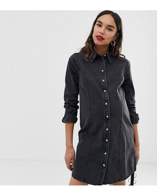 7334b46b767 ASOS - Asos Design Maternity Denim Fitted Western Shirt Dress In Washed  Black - Lyst ...