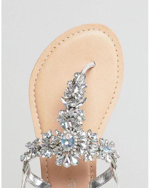 Cuir Asos Fairlight Coupe Large Embelli Sandales Plates - Argent fwSNT