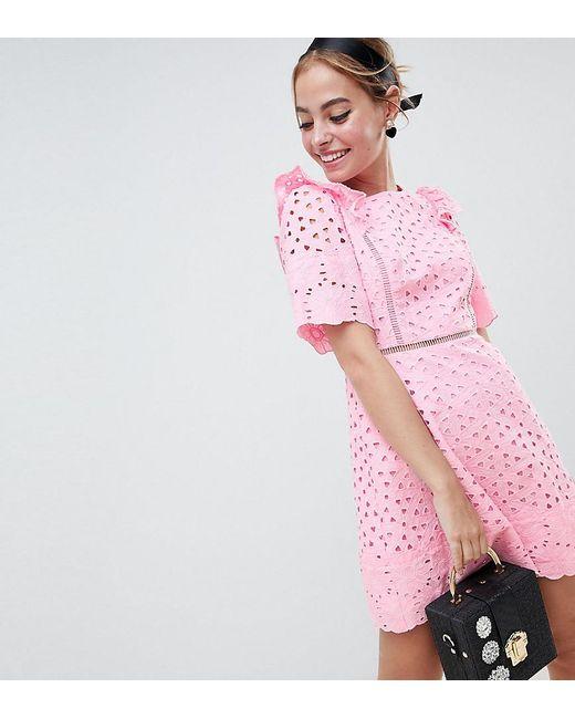 ASOS - Pink Asos Design Petite Broiderie Mini Dress With Ruffle Detail - Lyst