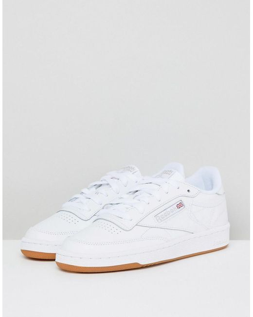 ... Reebok - Classic Club C 85 Trainers In White Leather With Gum Sole -  Lyst 5157fb17a