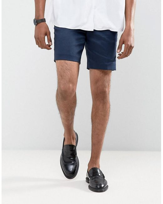 ASOS | Blue Slim Mid Length Linen Mix Shorts In Navy for Men | Lyst
