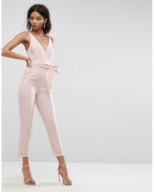 ASOS - Pink Design Wrap Front Jumpsuit With Peg Leg And Self Belt - Lyst