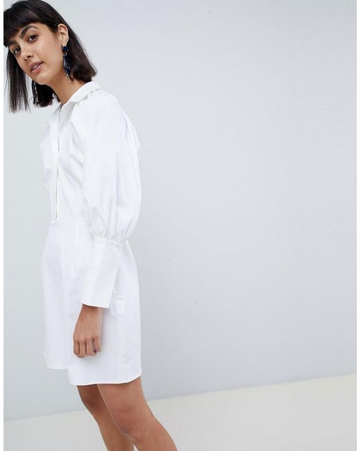ASOS - White Mini Dress In Twill - Lyst