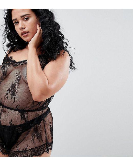 ASOS - Black Asos Design Curve Ria Lace Trim Teddy - Lyst