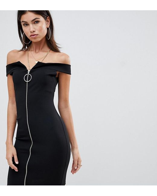Missguided - Black Exclusive Bardot Zip Front Dress - Lyst