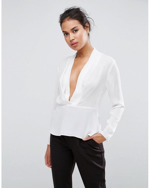 ASOS - White Waisted Plunge Top - Lyst