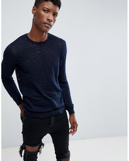 ASOS - Blue Knitted Jumper With Burnout Design In Navy for Men - Lyst