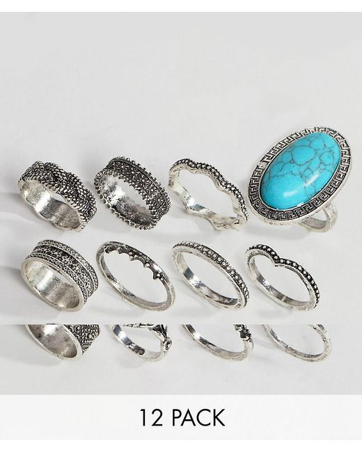 ASOS - Metallic Pack Of 12 Festival Engraved Burnished Stone Rings - Lyst