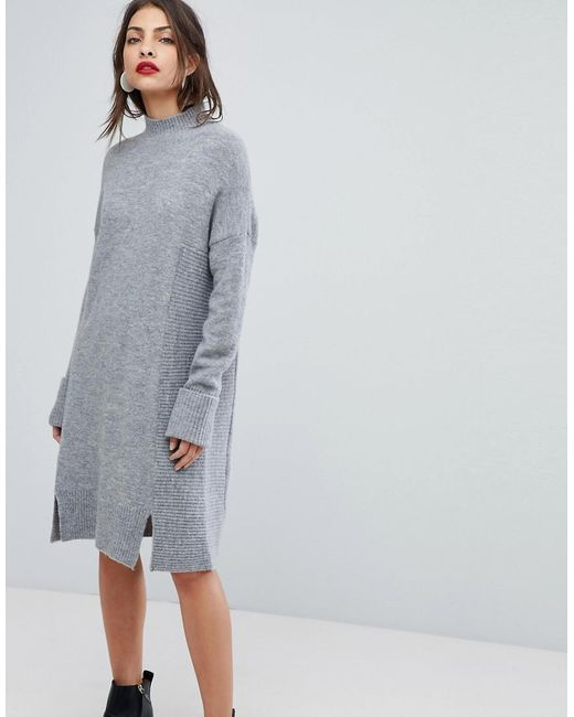 Whistles - Gray Funnel Neck Knit Dress - Lyst