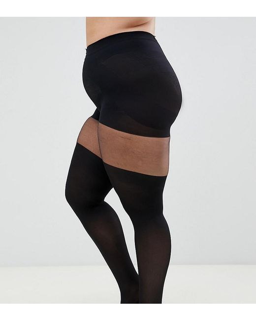 caeb0f2a358 ASOS - Black Asos Design Curve Mock Over The Knee Tights With Support -  Lyst ...