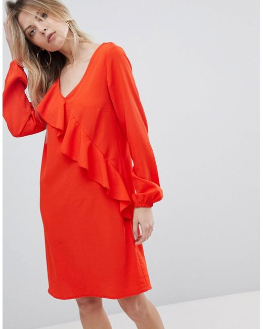 Vila - Orange Ruffle Panel Dress - Lyst