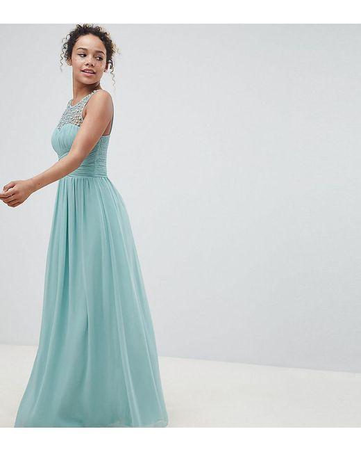 Little Mistress - Green Embellished Top Maxi Dress In Sage - Lyst