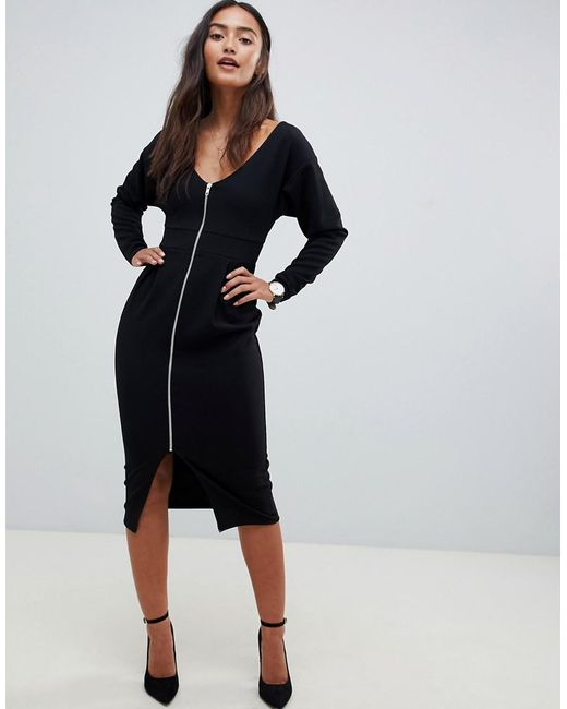 1d5ed8cab7 ASOS - Black Textured Pencil Dress With Exposed Zip - Lyst ...