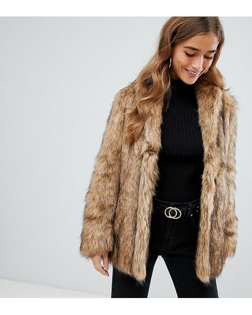 1f99fe43c35a3 ASOS - Brown Asos Design Petite Stand Collar Faux Fur Coat - Lyst ...