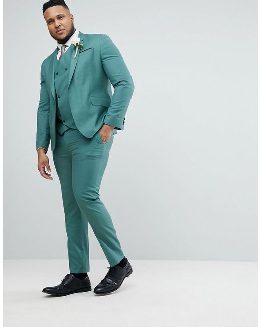 PLUS Wedding Slim Suit Trousers In Pine Green 100% Wool - Green Asos rc7DS