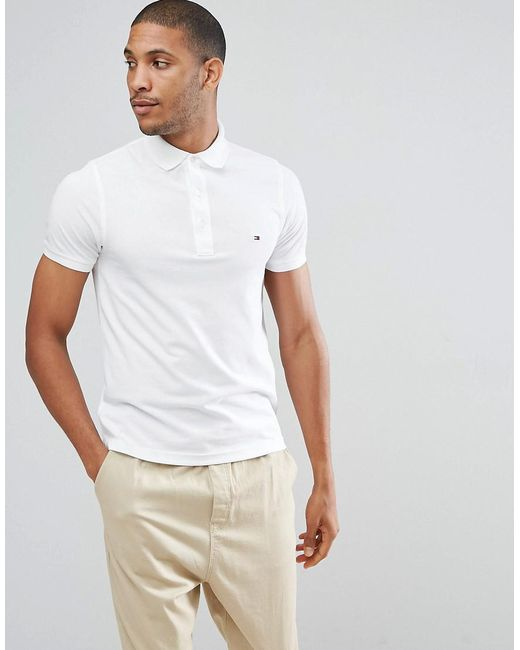 15b0e50385a5a Tommy Hilfiger Slim Fit Polo In White in White for Men - Lyst
