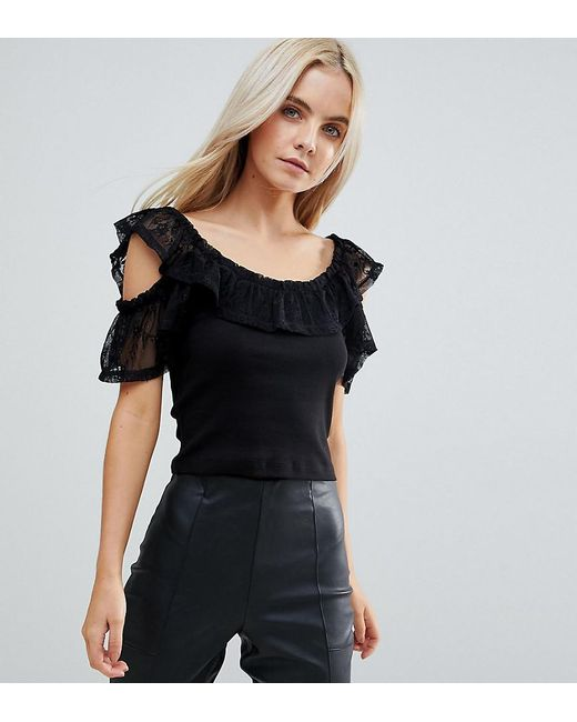 ASOS - Black Top In Rib With Lace Off Shoulder Trim - Lyst