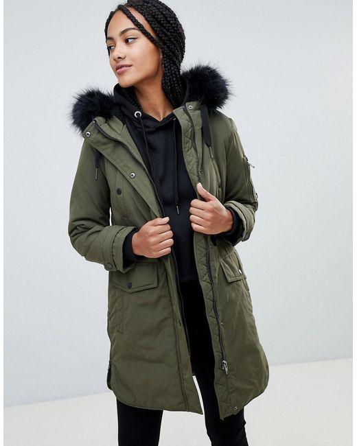 Esprit - Green Faux Fur Hood Contrast Detail Parka - Lyst