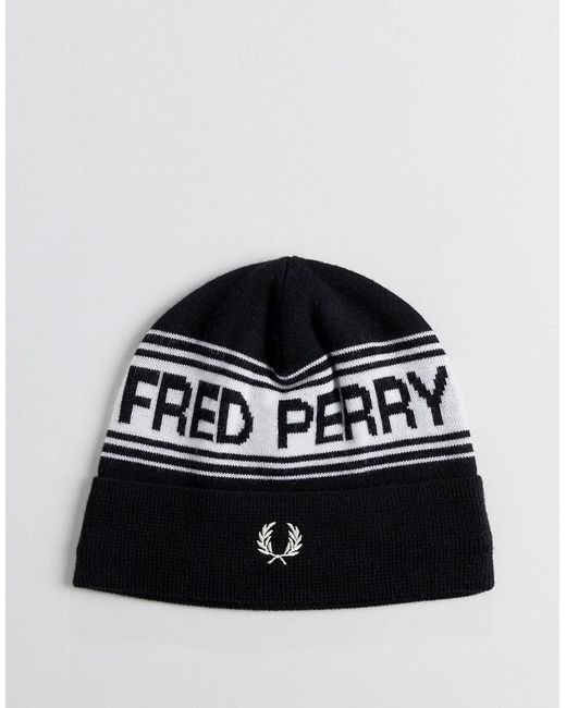d42c2e2c36c Fred Perry Logo Beanie Hat In Black in Black for Men - Lyst