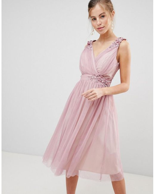 08a66ae6b5 Little Mistress - Pink Mesh Prom Dress With Floral Applique And Pearl Trim  - Lyst ...