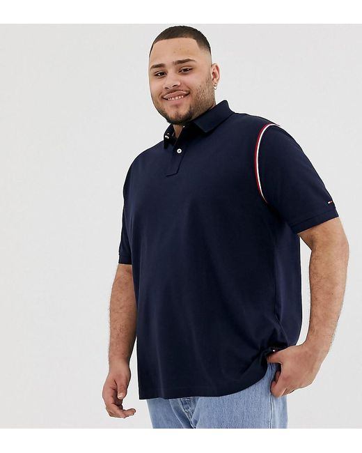 41427e1d Tommy Hilfiger - Blue Big & Tall Icon Tape Trim Pique Polo Regular Fit In  Navy ...