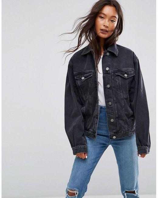 Asos Denim Oversized Jacket In Washed Black In Black Lyst