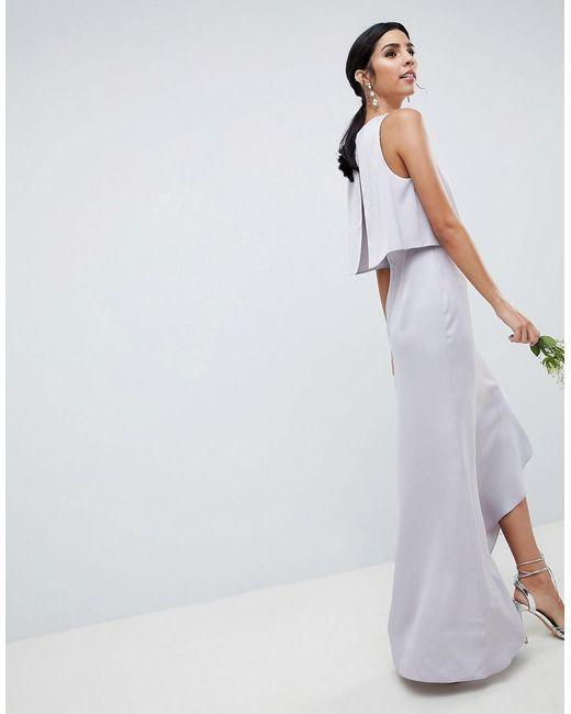 b5e4225896b ... ASOS - Pink Pearl Trim Crop Top Maxi Dress - Lyst
