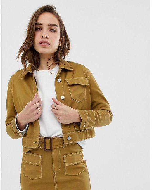 81cc05a07 Women's Brown Organic Cotton Cropped Utility Jacket
