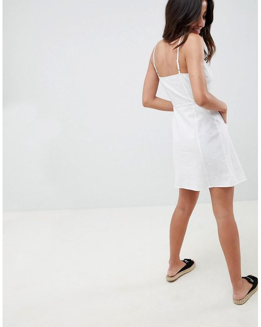 dcdeec8fdb0 ... ASOS - White Button Through Linen Mini Sundress - Lyst