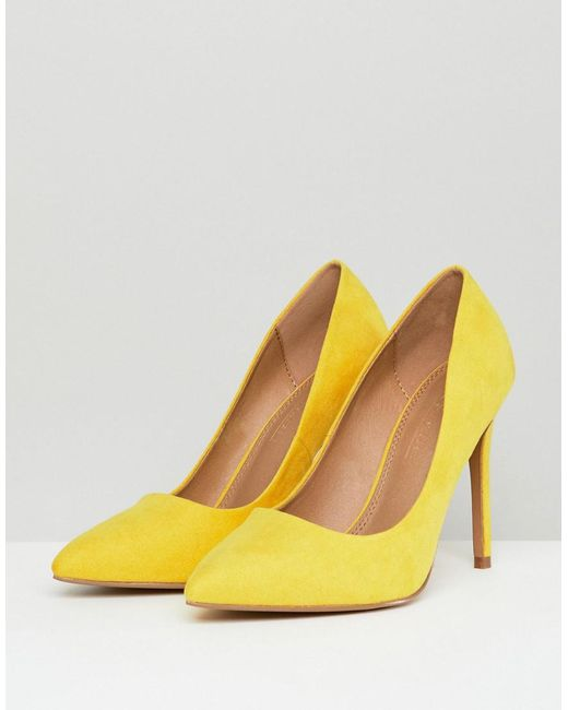 d27d5171e ... ASOS - Paris Wide Fit Pointed High Heeled Court Shoes In Yellow - Lyst