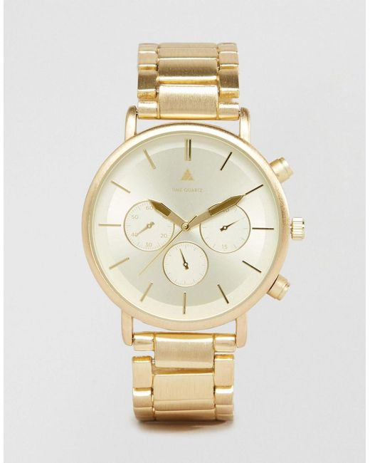 ASOS | Metallic Bracelet Watch In Brushed Gold for Men | Lyst