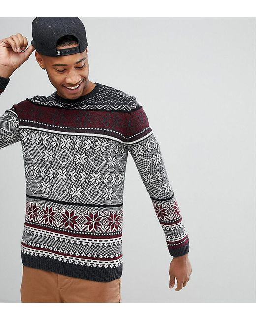 ASOS - Gray Tall Lambswool Fairisle Sweater In Charcoal for Men - Lyst
