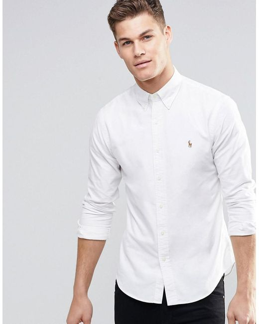5d07234ebe713 Polo Ralph Lauren Oxford Shirt In Slim Fit White in White for Men ...