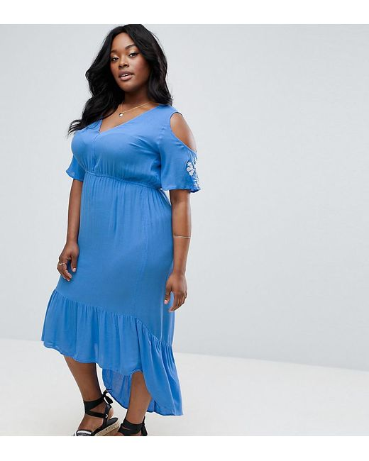 Diya | Blue Cold Shoulder Maxi Dress With Sleeve Embroidery | Lyst