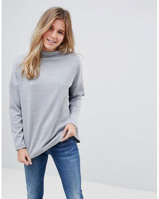 B.Young - Gray Slash Neck Sweater - Lyst