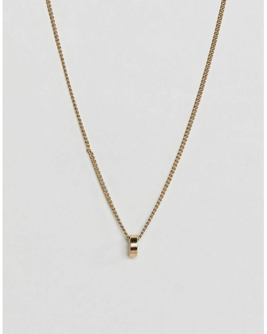 Pilgrim - Metallic Gold Plated Circle Necklace - Lyst