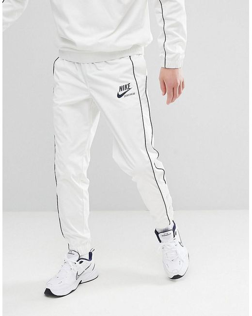 Nike Archive Joggers With Popper In White 941879 133 In White For